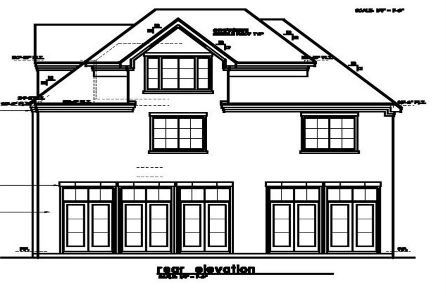 Home Plan Rear Elevation of this 4-Bedroom,3595 Sq Ft Plan -156-1492