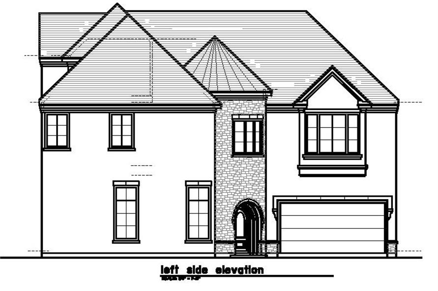 Home Plan Left Elevation of this 4-Bedroom,3595 Sq Ft Plan -156-1492