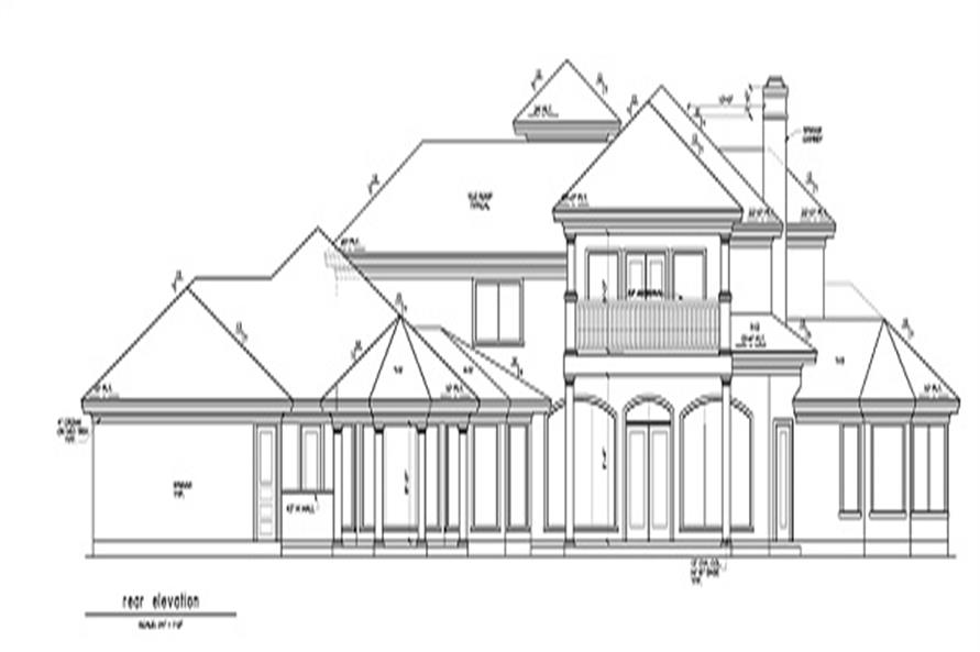 Home Plan Rear Elevation of this 5-Bedroom,5255 Sq Ft Plan -156-1493