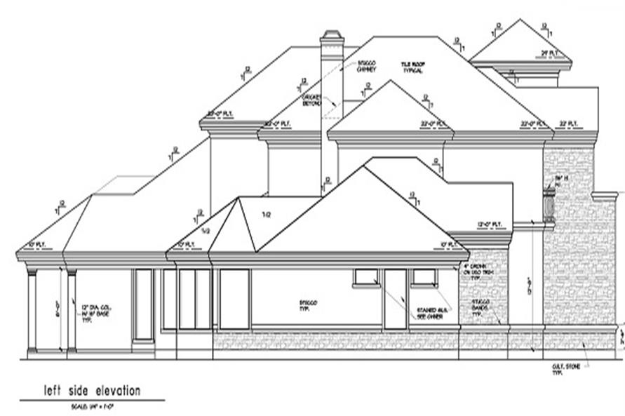 Home Plan Left Elevation of this 5-Bedroom,5255 Sq Ft Plan -156-1493