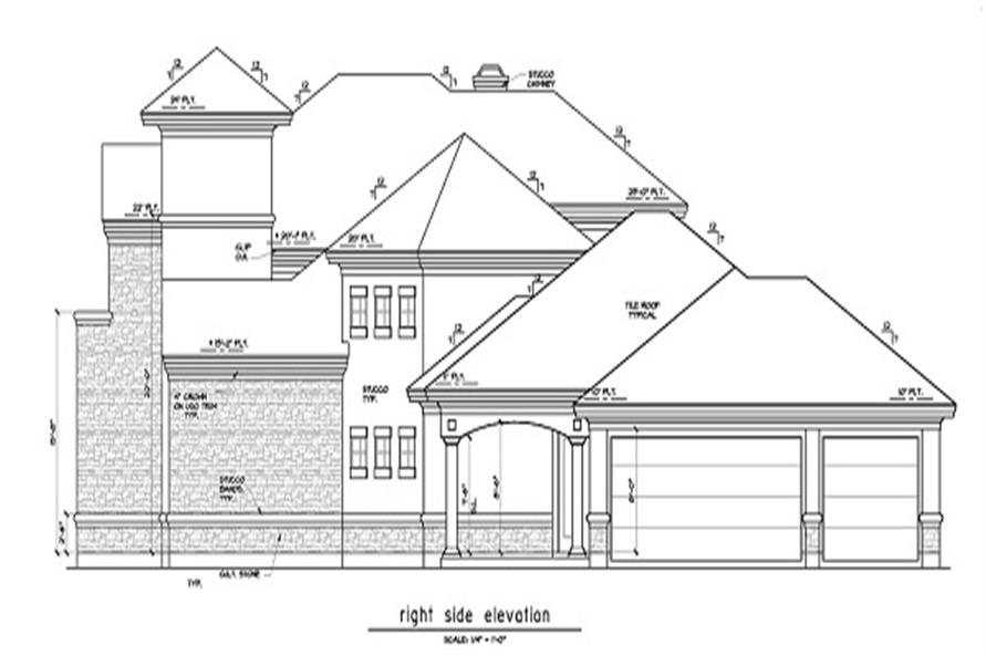 Home Plan Right Elevation of this 5-Bedroom,5255 Sq Ft Plan -156-1493
