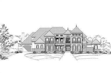 5-Bedroom, 6044 Sq Ft French House Plan - 156-1511 - Front Exterior