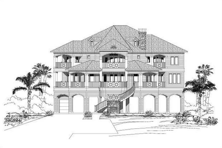 4-Bedroom, 4866 Sq Ft Coastal House Plan - 156-1513 - Front Exterior