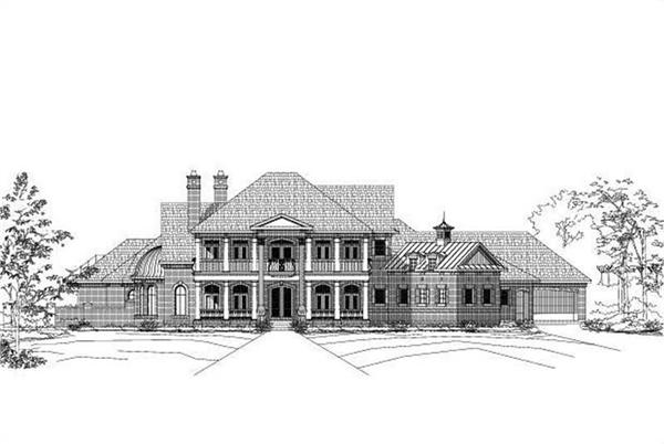 Luxury home plans front rendering.