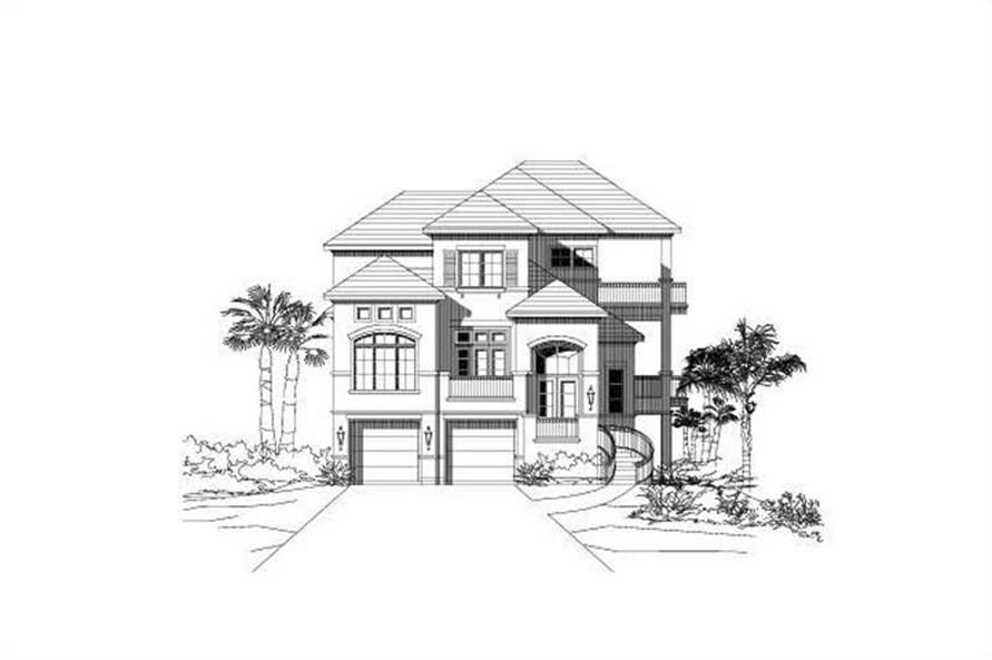 4-Bedroom, 3611 Sq Ft Coastal House Plan - 156-1525 - Front Exterior