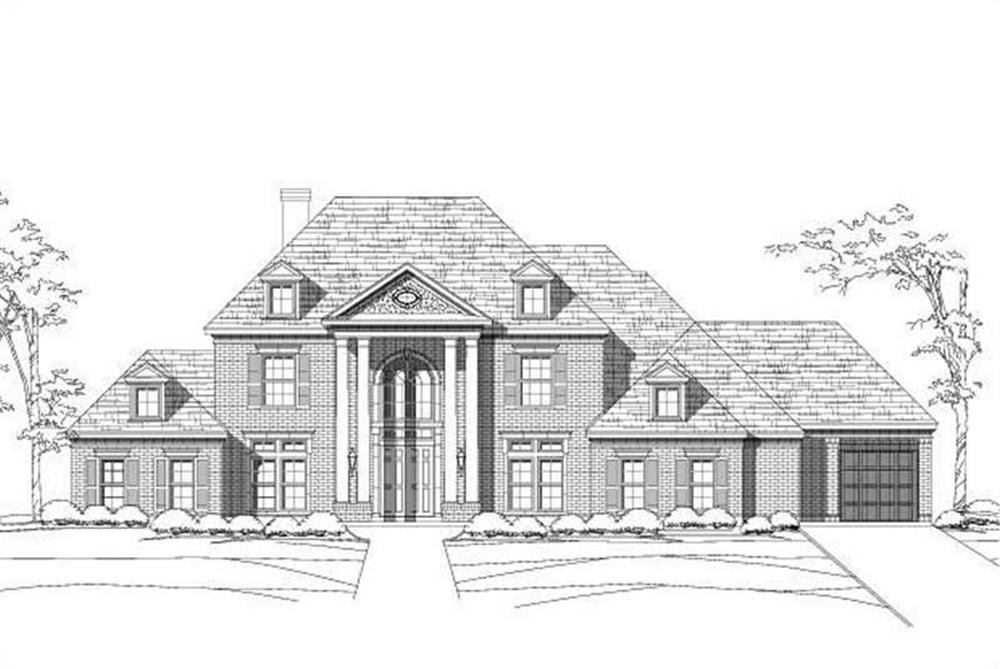 Front elevation of Luxury home (ThePlanCollection: House Plan #156-1534)