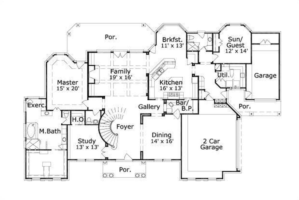 Floor Plan First Story for Southern House Plans #OHP-991136