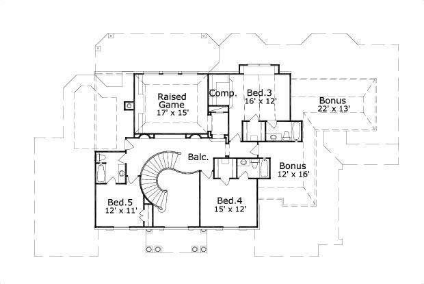 Floor Plan Second Story for Southern House Plans #OHP-991136