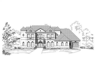 5-Bedroom, 6169 Sq Ft French Home Plan - 156-1540 - Main Exterior