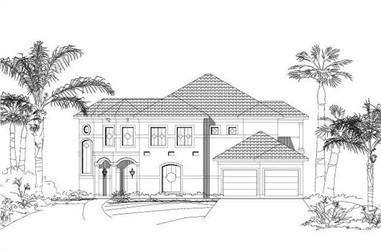 3-Bedroom, 3116 Sq Ft Mediterranean House Plan - 156-1543 - Front Exterior