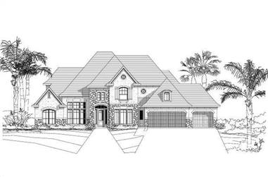 5-Bedroom, 4536 Sq Ft Tuscan House Plan - 156-1551 - Front Exterior