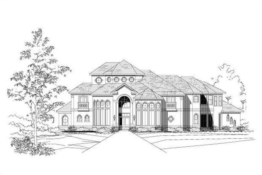 4-Bedroom, 5035 Sq Ft Mediterranean House Plan - 156-1552 - Front Exterior