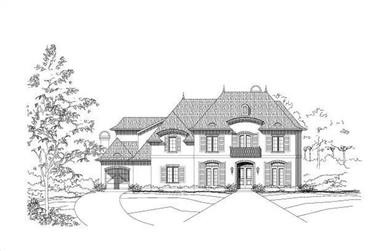 5-Bedroom, 5836 Sq Ft French Home Plan - 156-1578 - Main Exterior