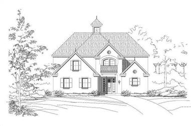 4-Bedroom, 3429 Sq Ft French House Plan - 156-1584 - Front Exterior