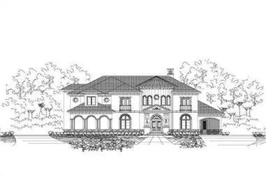 6-Bedroom, 7471 Sq Ft Mediterranean House Plan - 156-1587 - Front Exterior