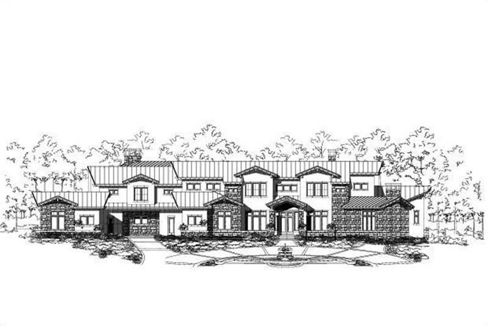 Front elevation of Luxury home (ThePlanCollection: House Plan #156-1589)