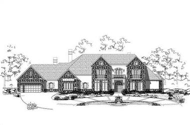 5-Bedroom, 7670 Sq Ft Country House Plan - 156-1590 - Front Exterior