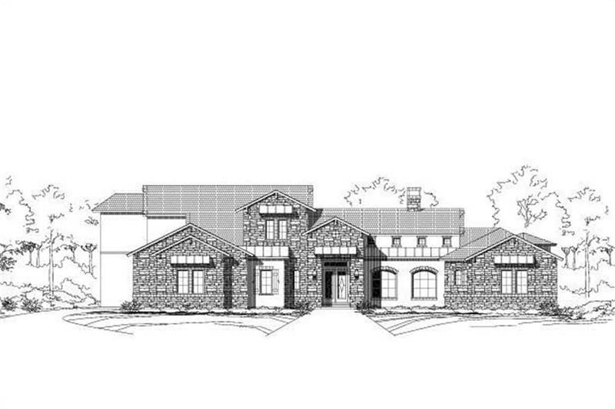 3-Bedroom, 4136 Sq Ft Tuscan Home Plan - 156-1593 - Main Exterior