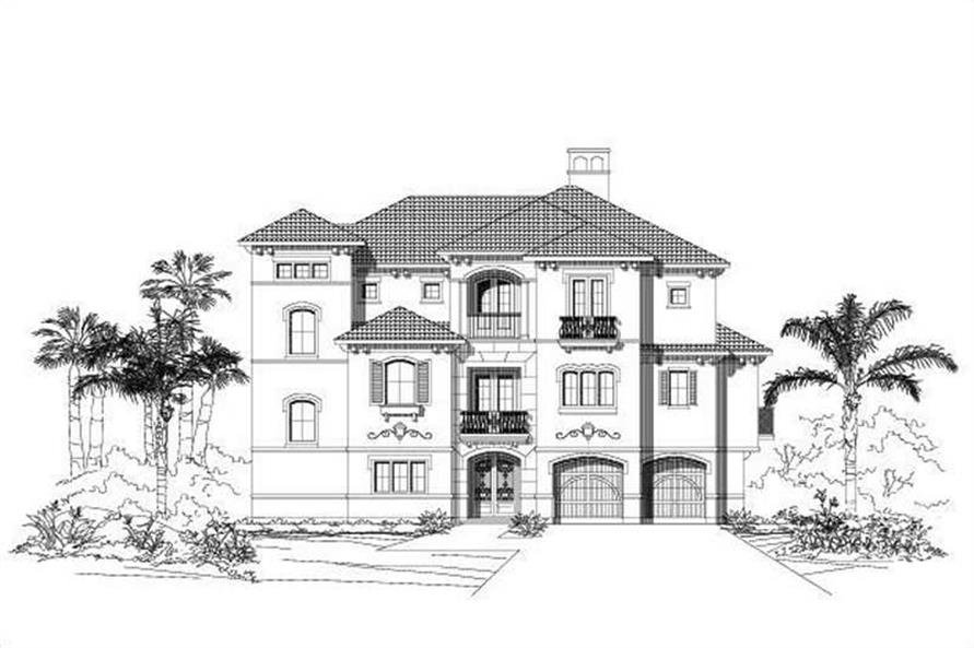 4-Bedroom, 3898 Sq Ft Coastal House Plan - 156-1595 - Front Exterior