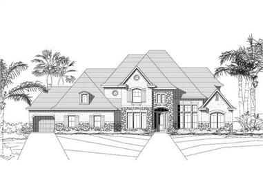 5-Bedroom, 4662 Sq Ft Country Home Plan - 156-1597 - Main Exterior