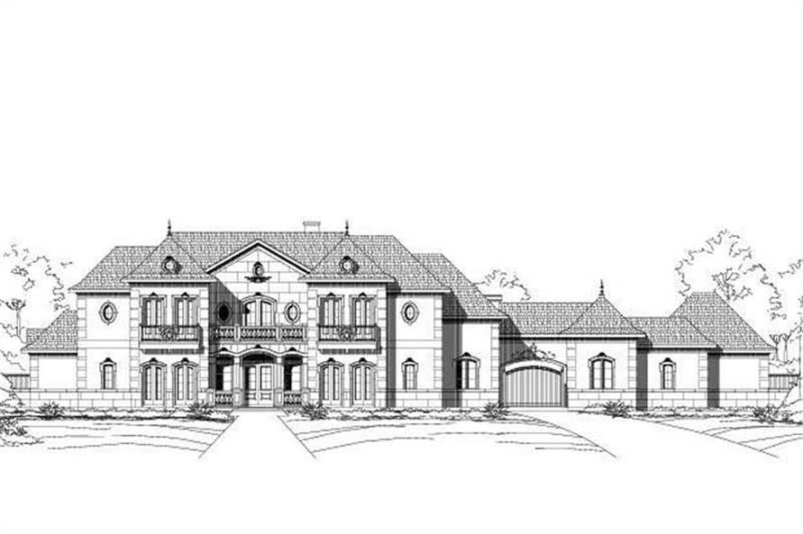 5-Bedroom, 6331 Sq Ft French Home Plan - 156-1598 - Main Exterior
