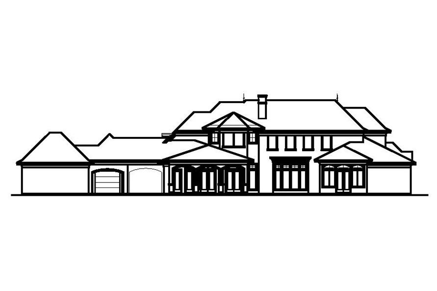 Home Plan Rear Elevation of this 5-Bedroom,6331 Sq Ft Plan -156-1598