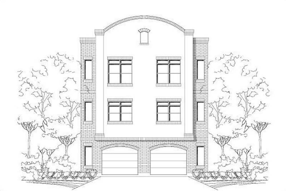 Front elevation of Multi-Unit home (ThePlanCollection: House Plan #156-1599)