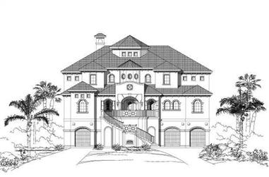 6-Bedroom, 5509 Sq Ft Coastal House Plan - 156-1607 - Front Exterior