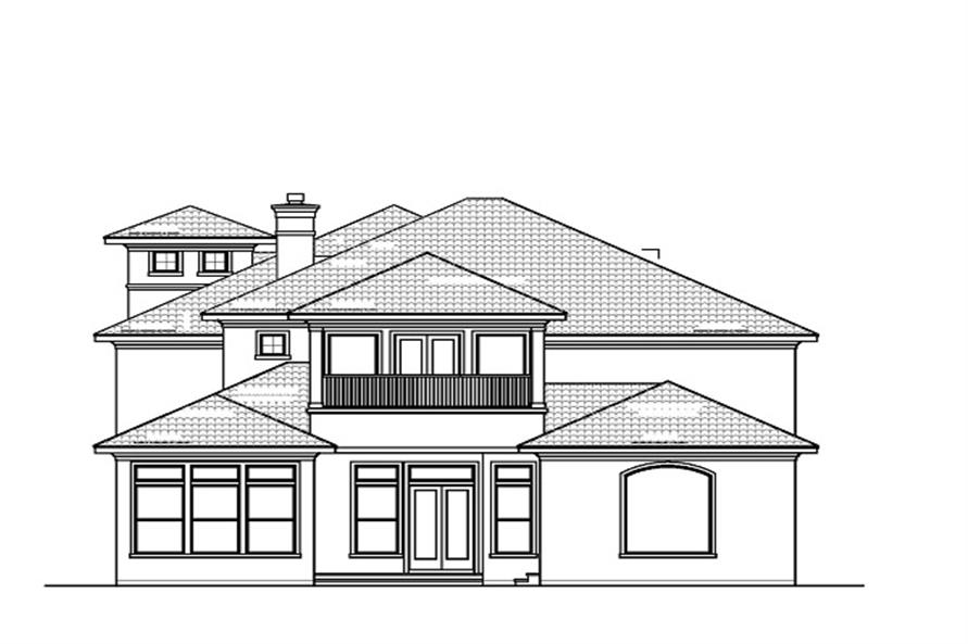 Home Plan Rear Elevation of this 5-Bedroom,7209 Sq Ft Plan -156-1620