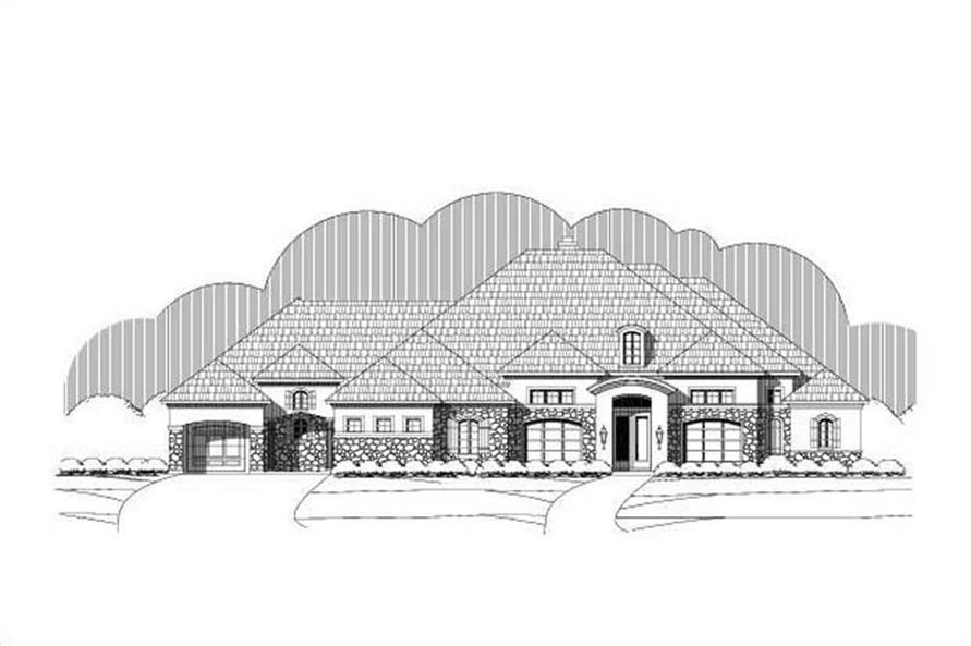 4-Bedroom, 3818 Sq Ft Tuscan Home Plan - 156-1630 - Main Exterior