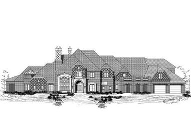 5-Bedroom, 7845 Sq Ft French House Plan - 156-1661 - Front Exterior