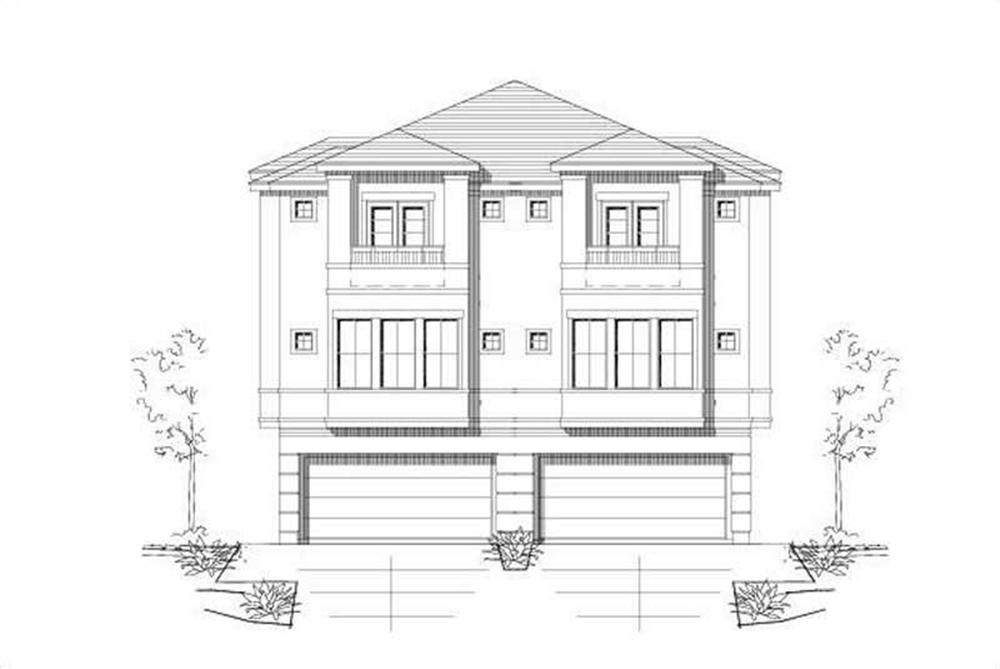 Front elevation of duplex home (ThePlanCollection: House Plan #156-1673)