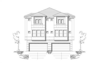 3-Bedroom, 2355 Sq Ft Per Unit Duplex House Plan - 156-1673 - Front Exterior