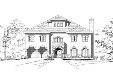 3-Bedroom, 4881 Sq Ft Mediterranean House Plan - 156-1683 - Front Exterior