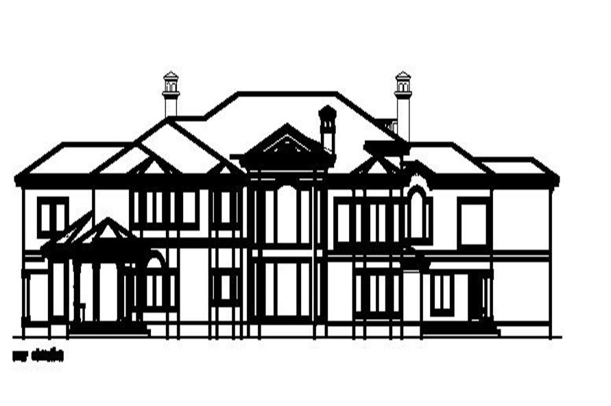 Home Plan Rear Elevation of this 6-Bedroom,8662 Sq Ft Plan -156-1686