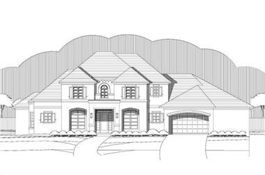 4-Bedroom, 3800 Sq Ft Mediterranean House Plan - 156-1687 - Front Exterior