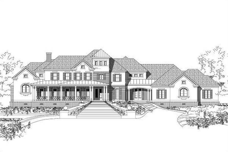 5-Bedroom, 5386 Sq Ft Country House Plan - 156-1695 - Front Exterior