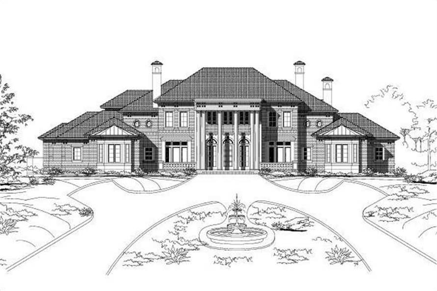 colonial home plan - 5 bedrms, 6.5 baths - 8273 sq ft - #156-1711