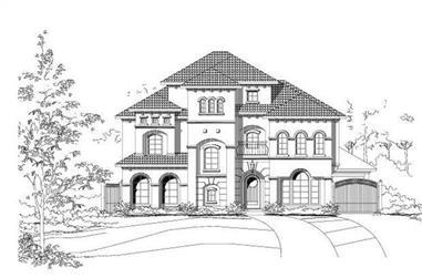 4-Bedroom, 4769 Sq Ft Mediterranean House Plan - 156-1723 - Front Exterior