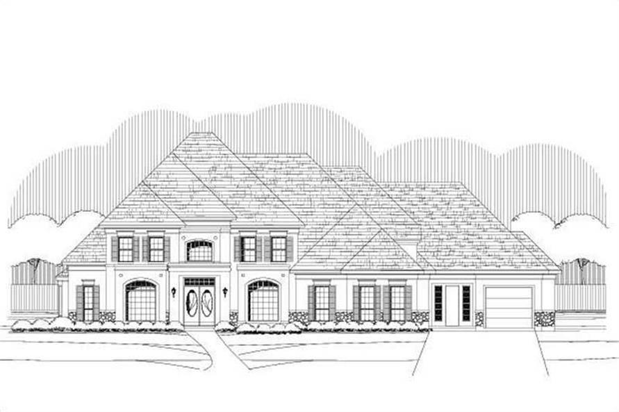 6-Bedroom, 5894 Sq Ft French Home Plan - 156-1731 - Main Exterior