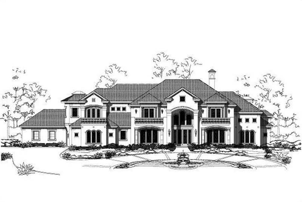 Front elevation of Luxury home (ThePlanCollection: House Plan #156-1749)