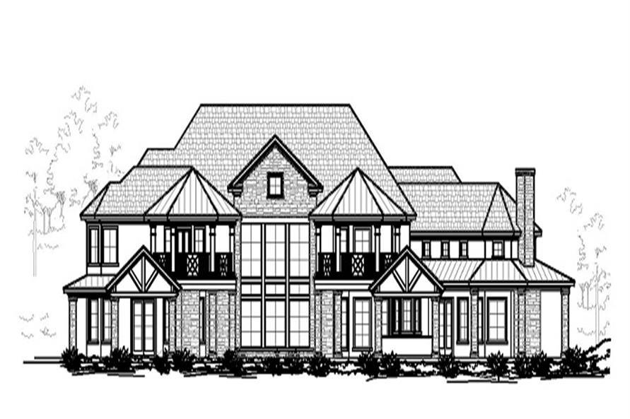 Home Plan Rear Elevation of this 5-Bedroom,6672 Sq Ft Plan -156-1758