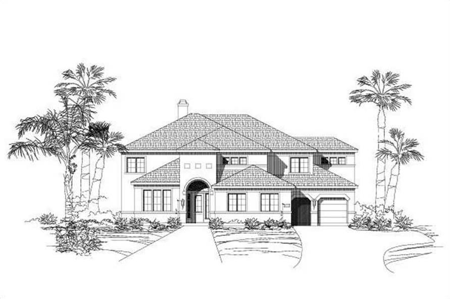 6-Bedroom, 4436 Sq Ft Mediterranean House Plan - 156-1761 - Front Exterior