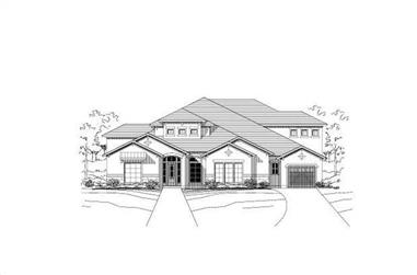 4-Bedroom, 4965 Sq Ft Spanish Home Plan - 156-1781 - Main Exterior
