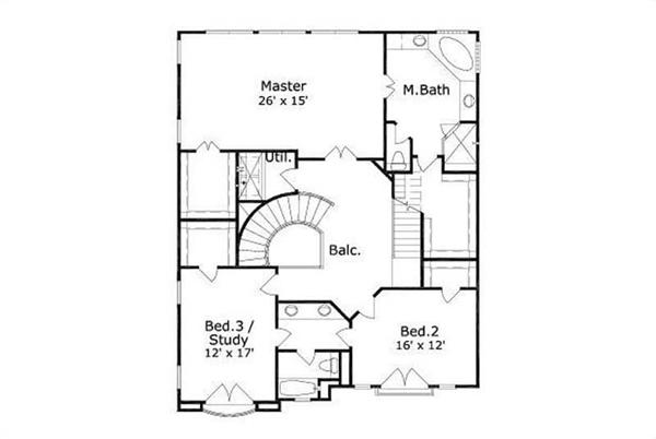 This image shows the master bedroom and bath along with 2 other bedrooms.
