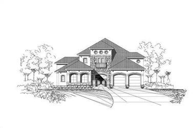 4-Bedroom, 4332 Sq Ft Spanish Home Plan - 156-1801 - Main Exterior