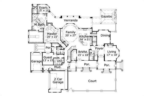 HOME PLAN NUMBER 20307 FIRST STORY FLOOR PLAN