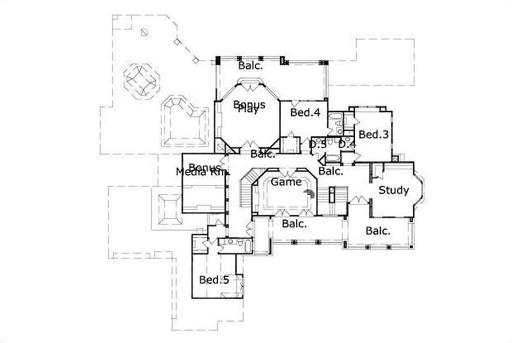 HOME PLAN NUMBER 20307 SECOND STORY FLOOR PLAN