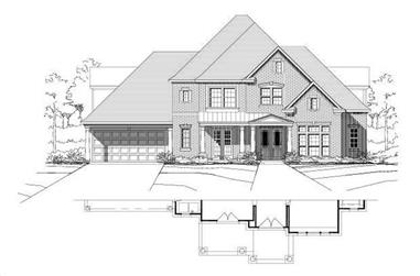 4-Bedroom, 4095 Sq Ft Country Home Plan - 156-1828 - Main Exterior