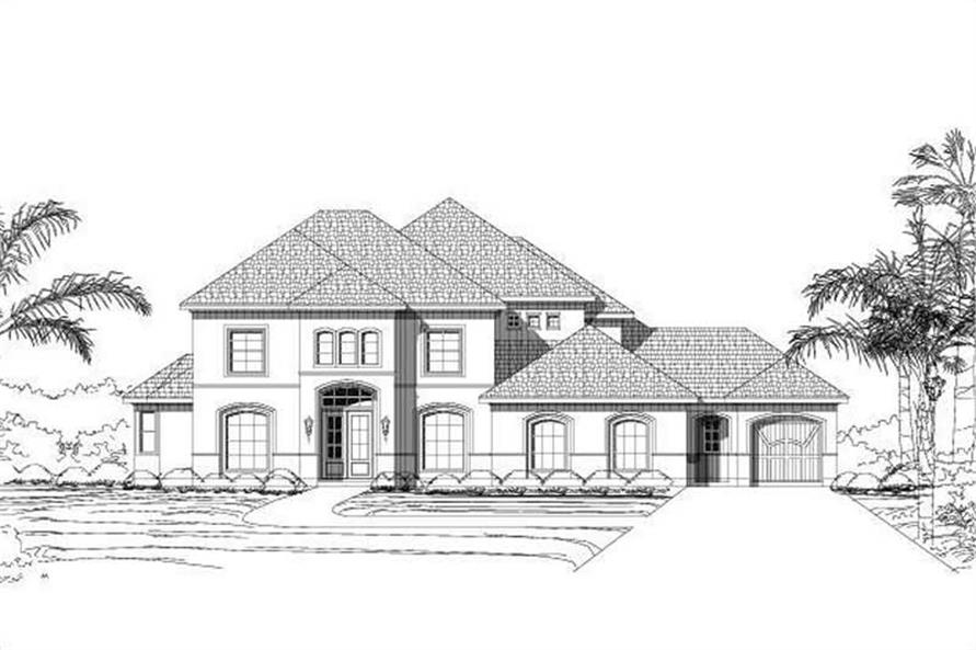 4-Bedroom, 4184 Sq Ft Mediterranean House Plan - 156-1836 - Front Exterior